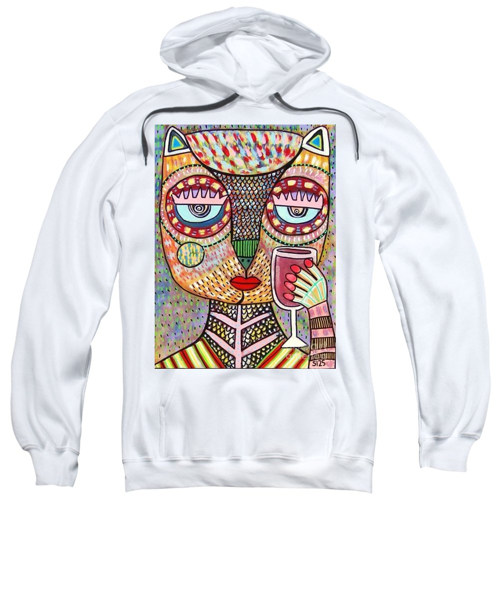 Women Sweatshirt featuring the painting Talavera Feather Owl Drinking Red Wine S by Sandra Silberzweig