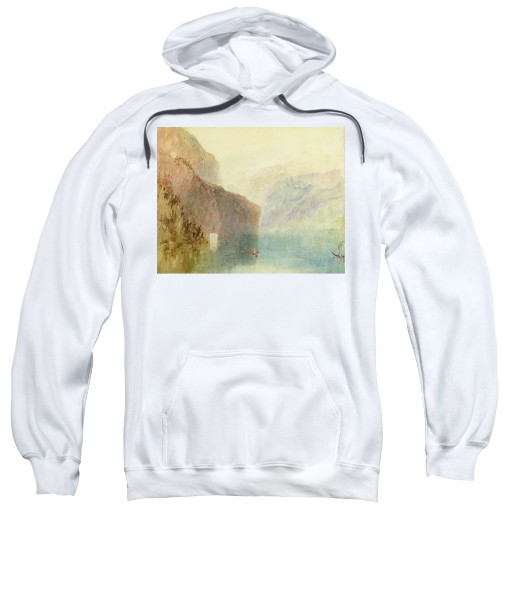 Xyc281140 Sweatshirt featuring the photograph Tell's Chapel - Lake Lucerne by Joseph Mallord William Turner