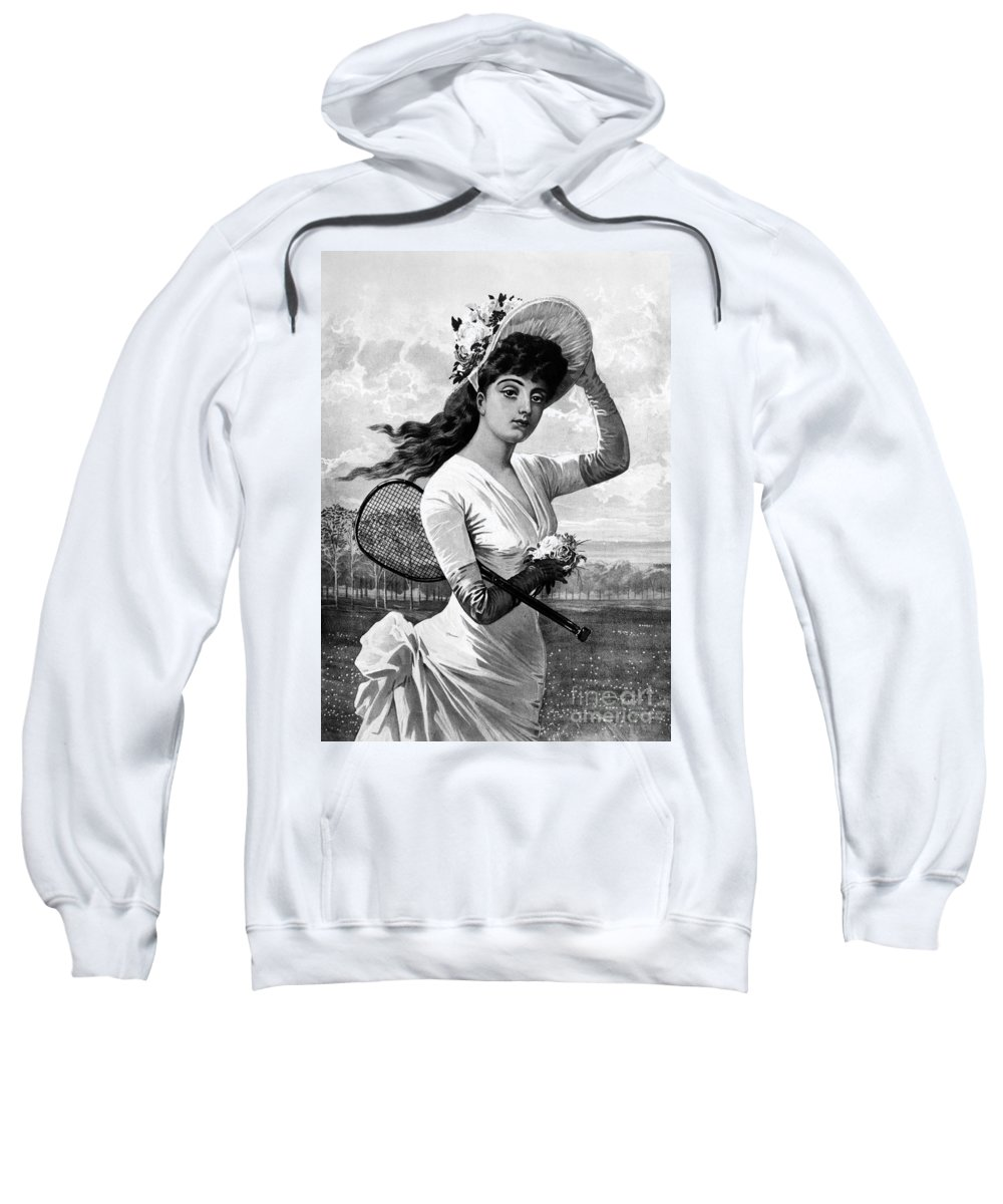 1887 Sweatshirt featuring the photograph Tennis, 1887 by Granger