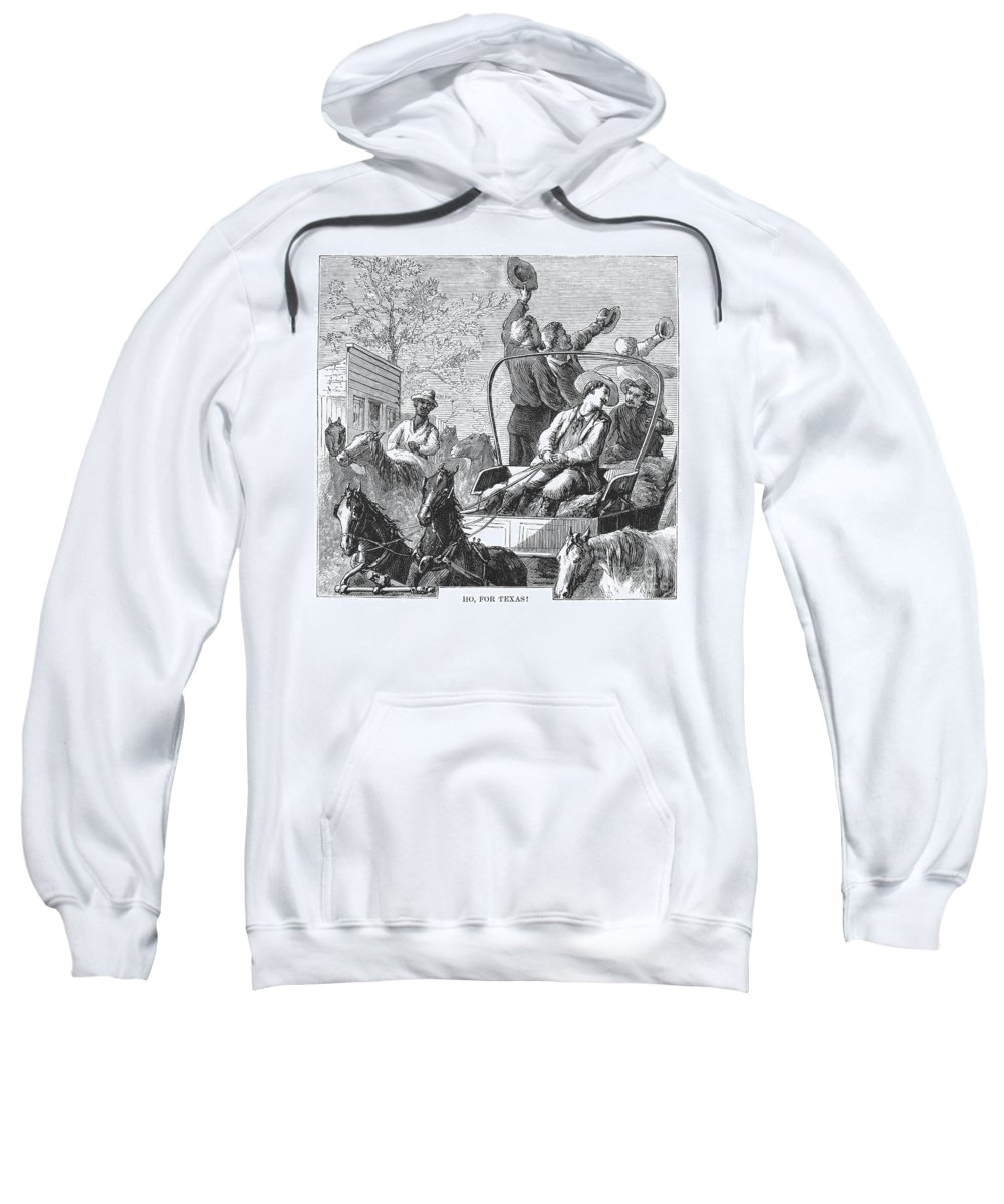 1874 Sweatshirt featuring the photograph Texas Cattle Trail, 1874 by Granger