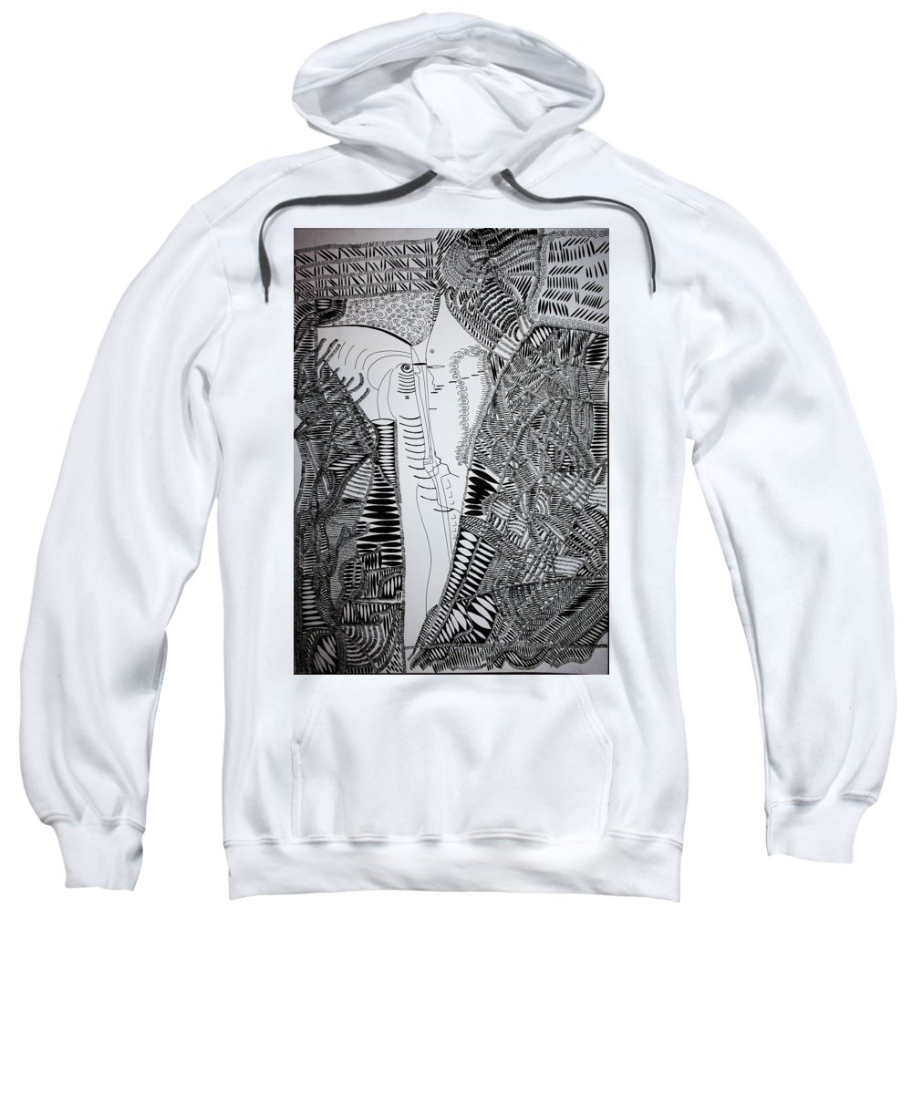 Jesus Sweatshirt featuring the drawing The Kiss by Gloria Ssali
