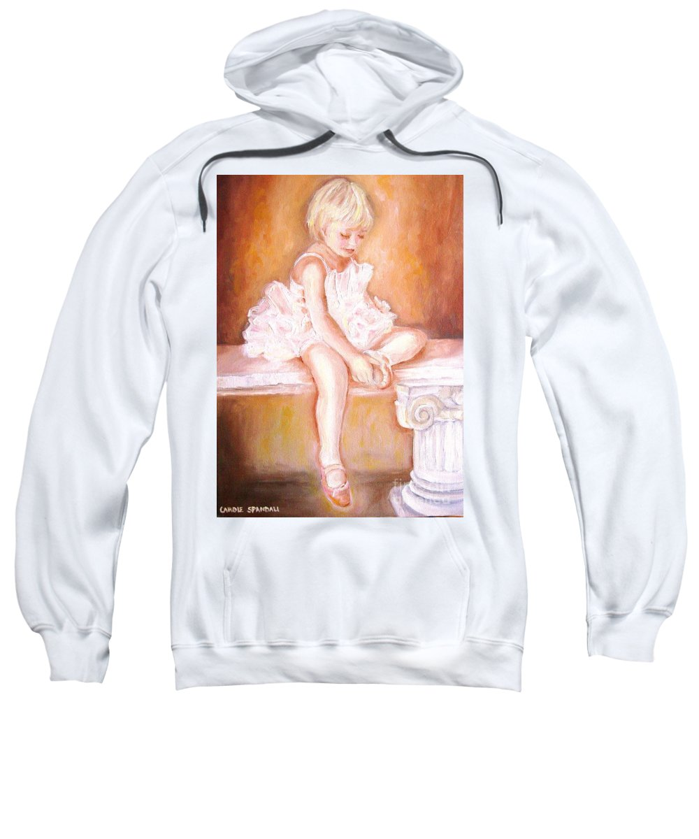 Ballerinas Sweatshirt featuring the painting The Little Ballerina by Carole Spandau