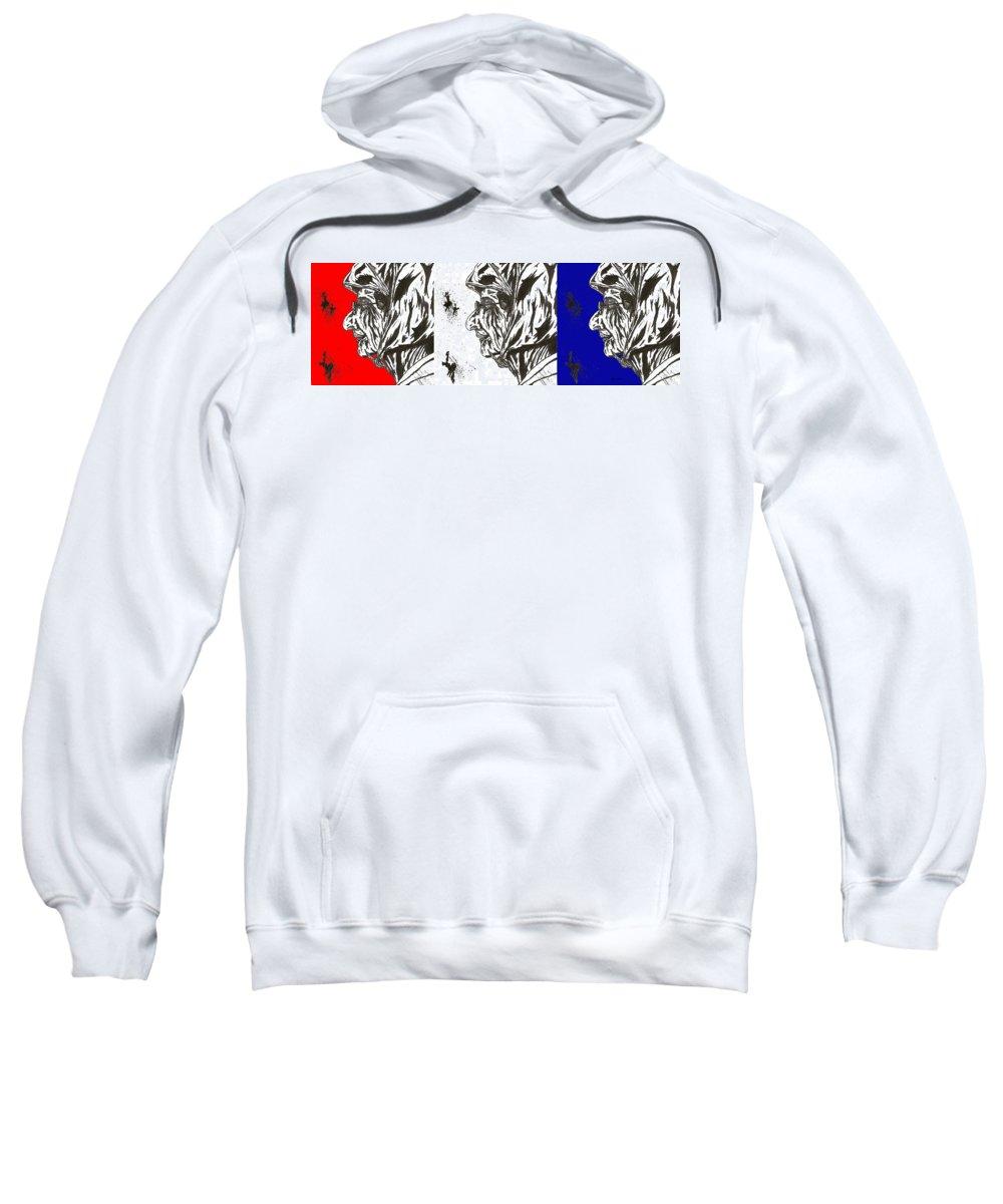 Color Sweatshirt featuring the mixed media The Patriotic Ms. Beatrice by Salvadore Delvisco
