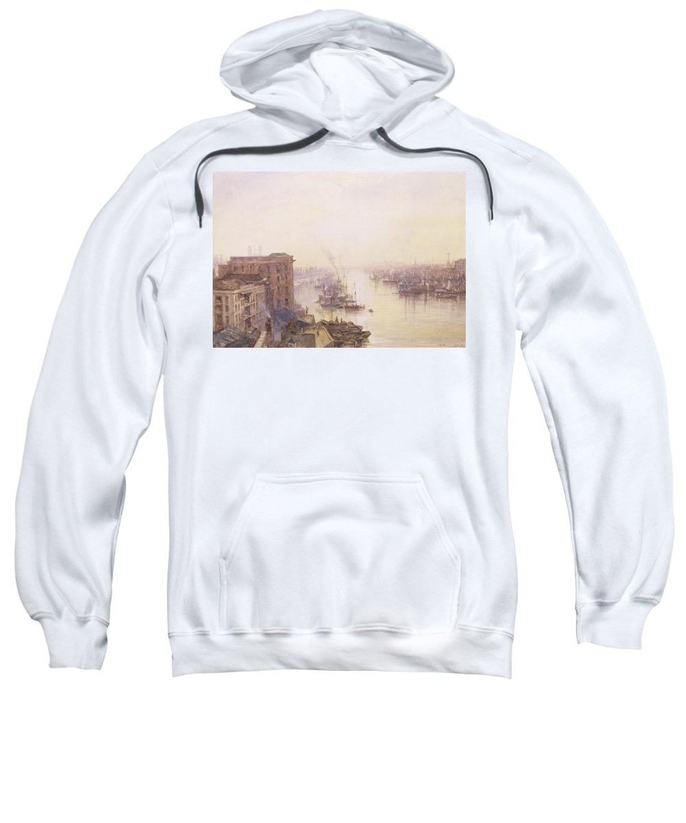 Sailboat Sweatshirt featuring the painting The Pool From The Adelaide Hotel London Bridge by William Wyld