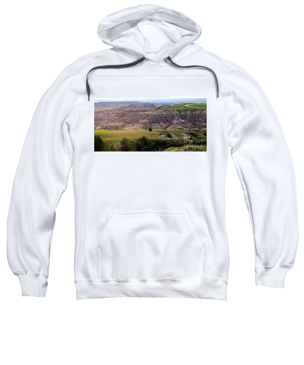 Badlands Sweatshirt featuring the photograph The Road Is Long by Living Color Photography Lorraine Lynch