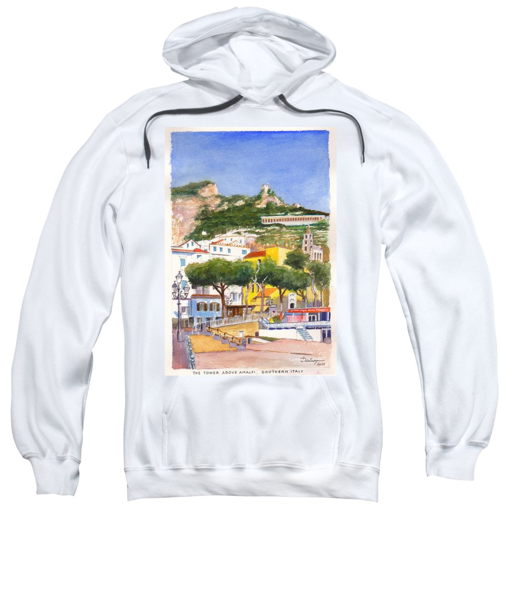 Beach Sweatshirt featuring the painting The Ruined Tower Above The Beach At Amalfi On The Southern Italian Coast by Dai Wynn