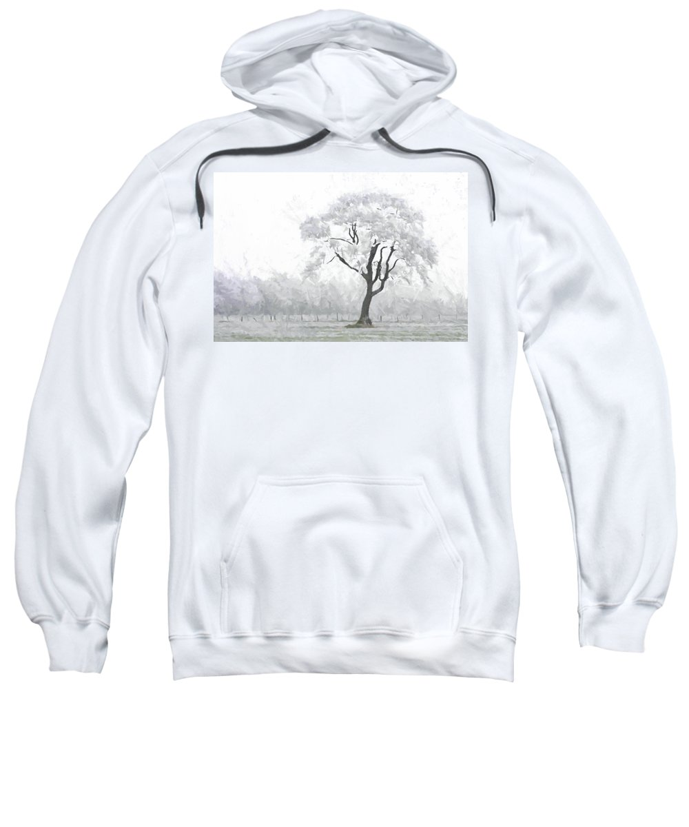 Winter Embrace Silent Silence Tree Snow Frost Cold Ice Painting Expressionism Nature Sweatshirt featuring the painting The Winter's Embrace by Steve K