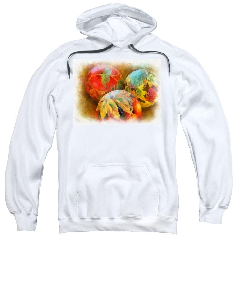 Santa Sweatshirt featuring the digital art Three Balls - Watercolor by Charles Muhle