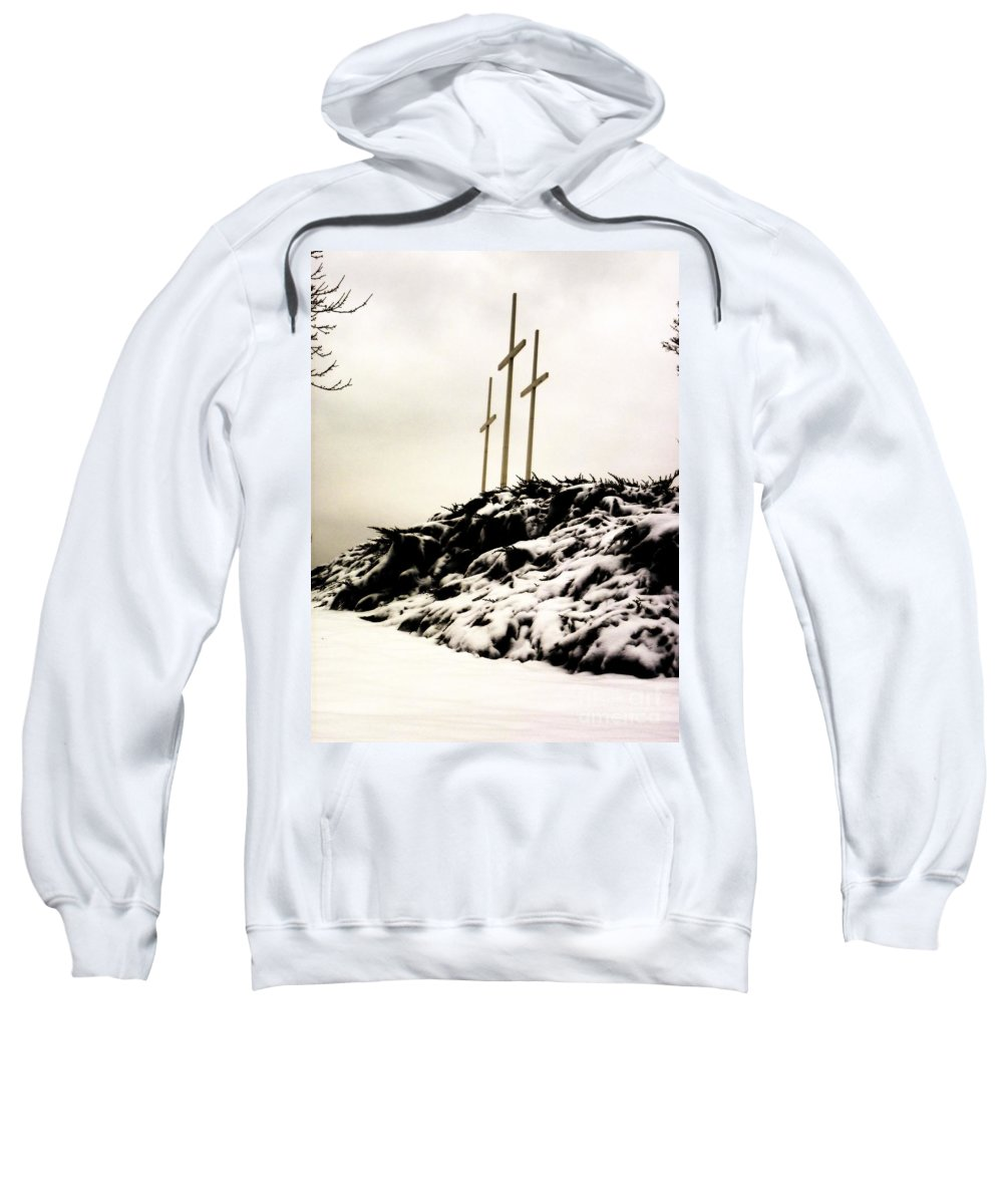 Cross Sweatshirt featuring the photograph Three Crosses by Charleen Treasures
