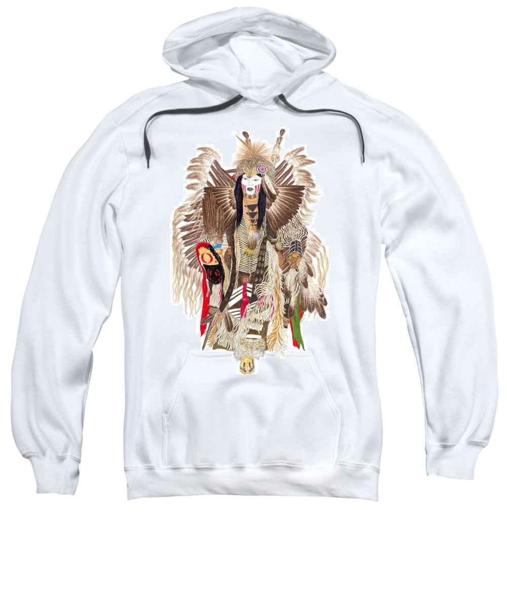 Pow-wow Sweatshirt featuring the drawing Traditional Pow-wow Dancer 1 by Tim McCarthy