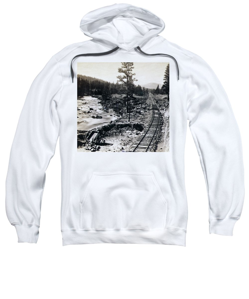 Truckee Sweatshirt featuring the photograph Truckee River - California Looking Toward Donner Lake - C 1865 by International Images