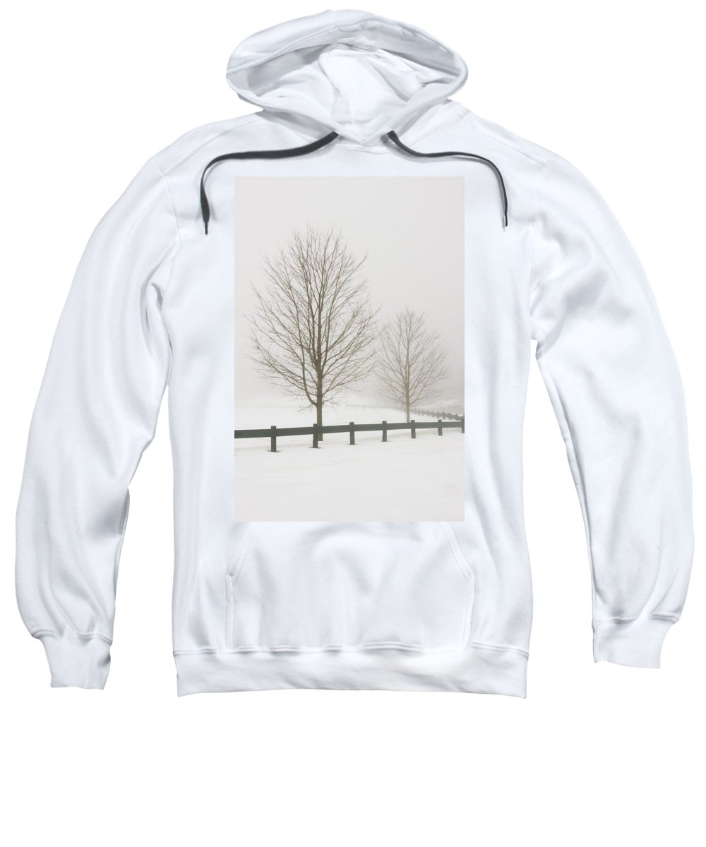 Landscape Sweatshirt featuring the photograph Two Trees And Fence In Winter Fog by Keith Webber Jr
