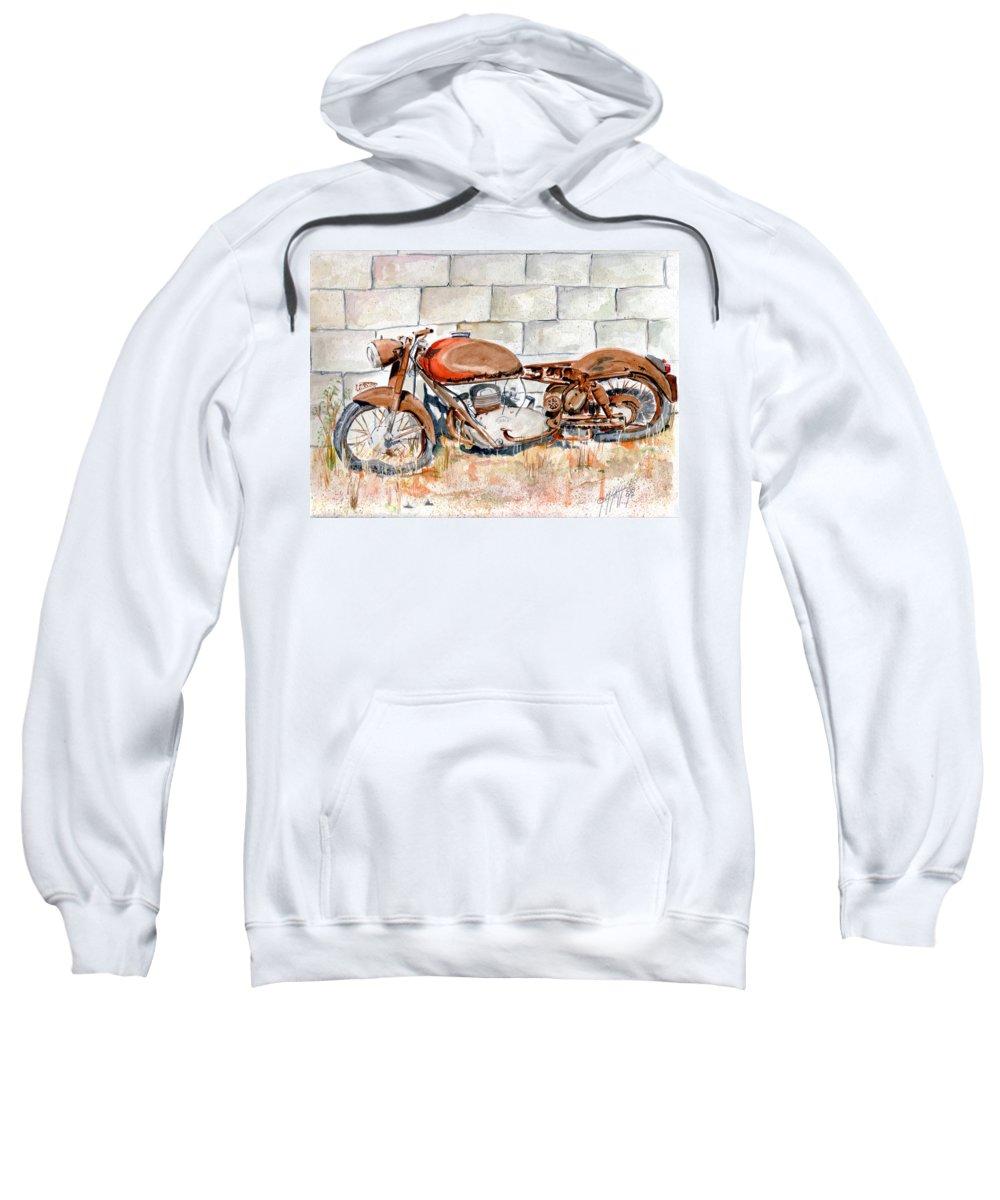 Still Life Sweatshirt featuring the painting Vecchia Gilera by Giovanni Marco Sassu