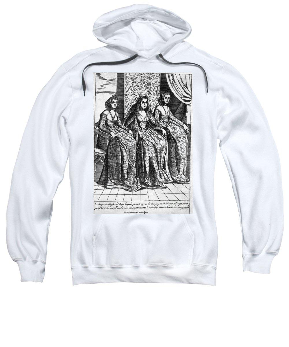 1600 Sweatshirt featuring the photograph Venetian Women, C1600 by Granger