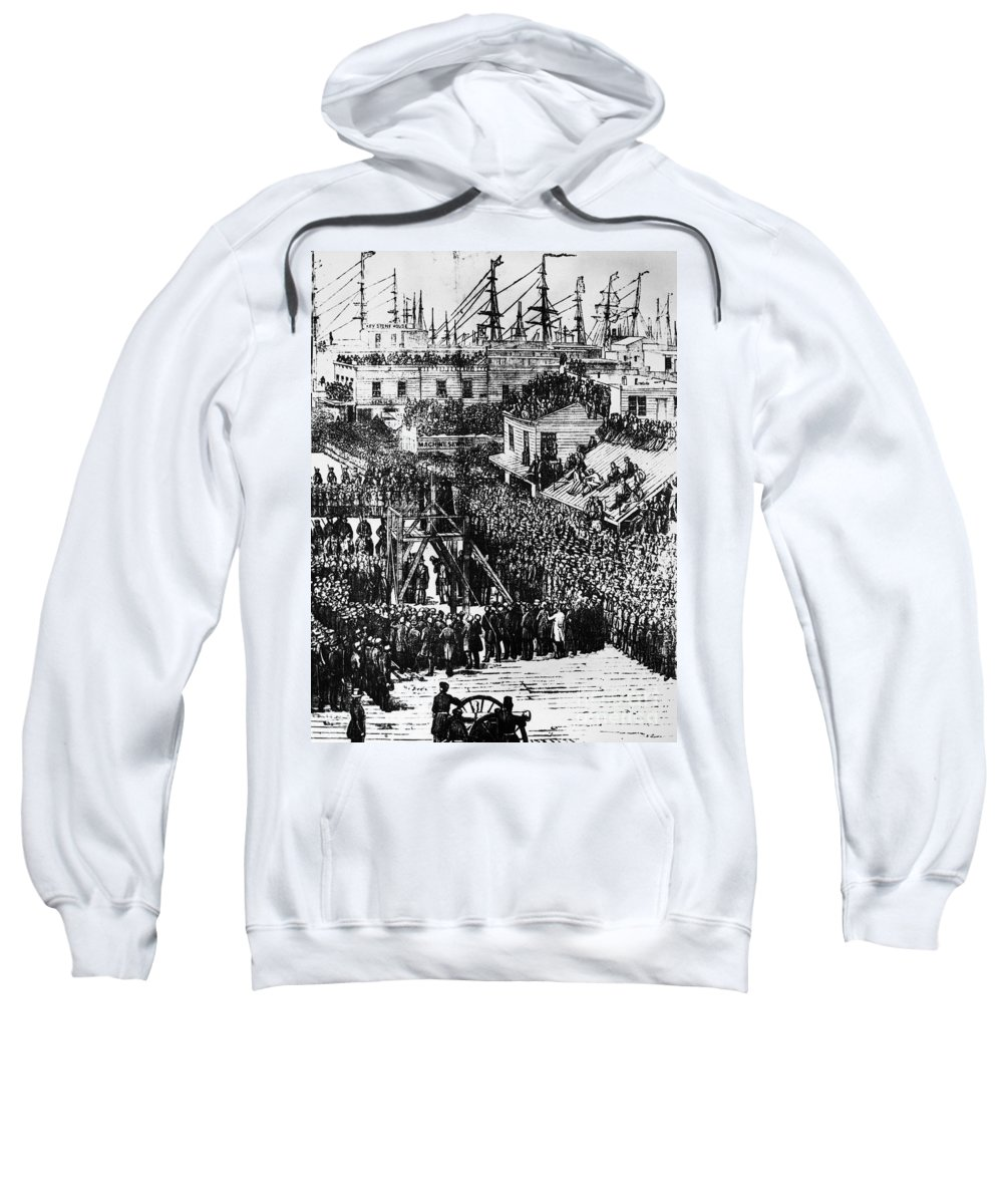 1856 Sweatshirt featuring the photograph Vigilante Lynching, 1856 by Granger