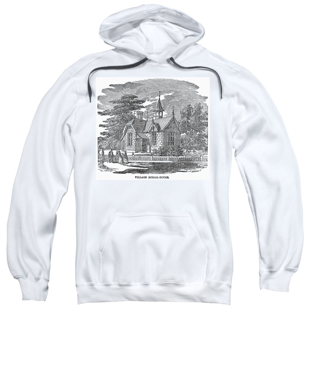 19th Century Sweatshirt featuring the photograph Village Schoolhouse, C1840 by Granger