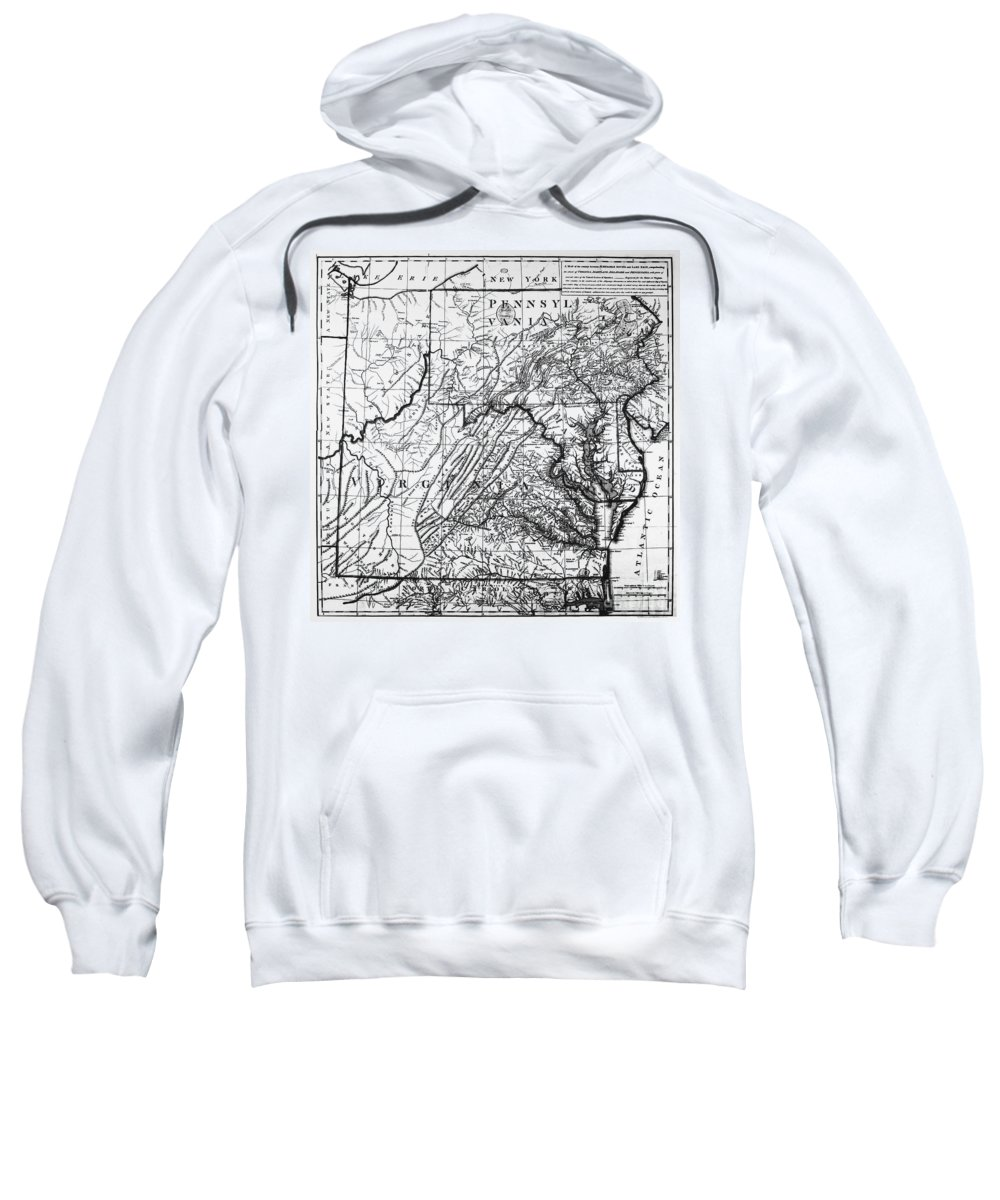 1784 Sweatshirt featuring the photograph Virginia: Map, C1784 by Granger
