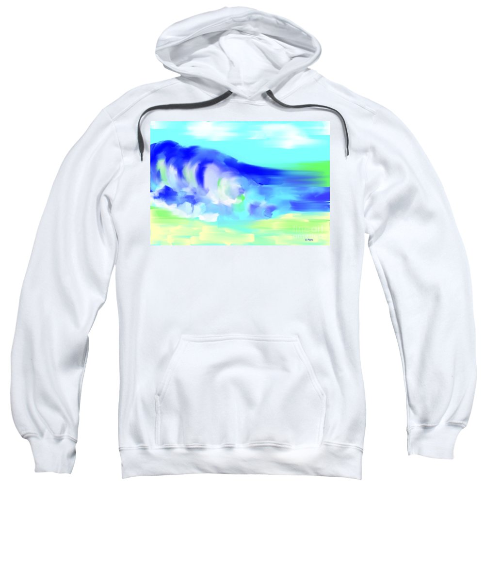 Seascape Sweatshirt featuring the painting Waves Crashing On The Beach by George Pedro