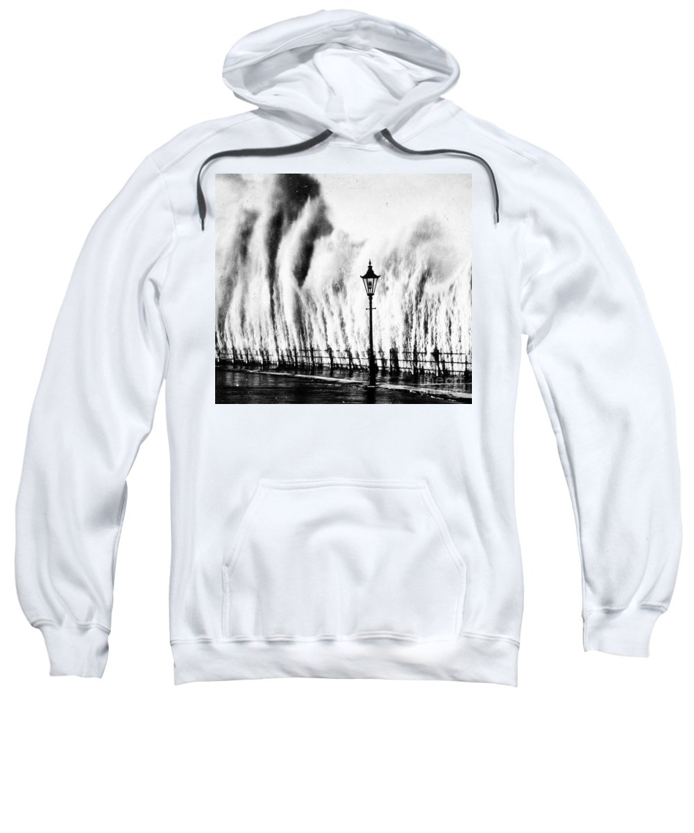Weather Sweatshirt featuring the photograph Waves Smashing Seawall, 1938 by Science Source