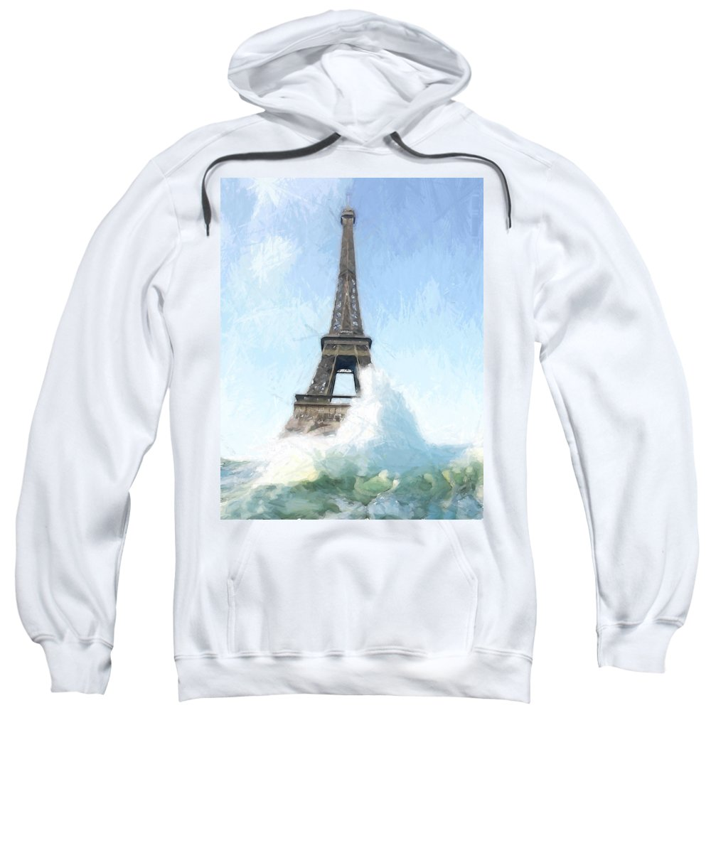 Ark Noah Flood Water High Tide Eifelturm Eiffel Tower Tour France Paris Wave Waves Painting Apocalypse Deluge Sinnflut Storm Water Atlantic Sea Ocean Judgment Day Sweatshirt featuring the painting Where Is The Ark by Steve K