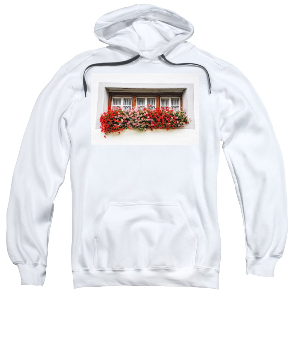 Window Sweatshirt featuring the photograph Windows With Red Flowers by Mats Silvan
