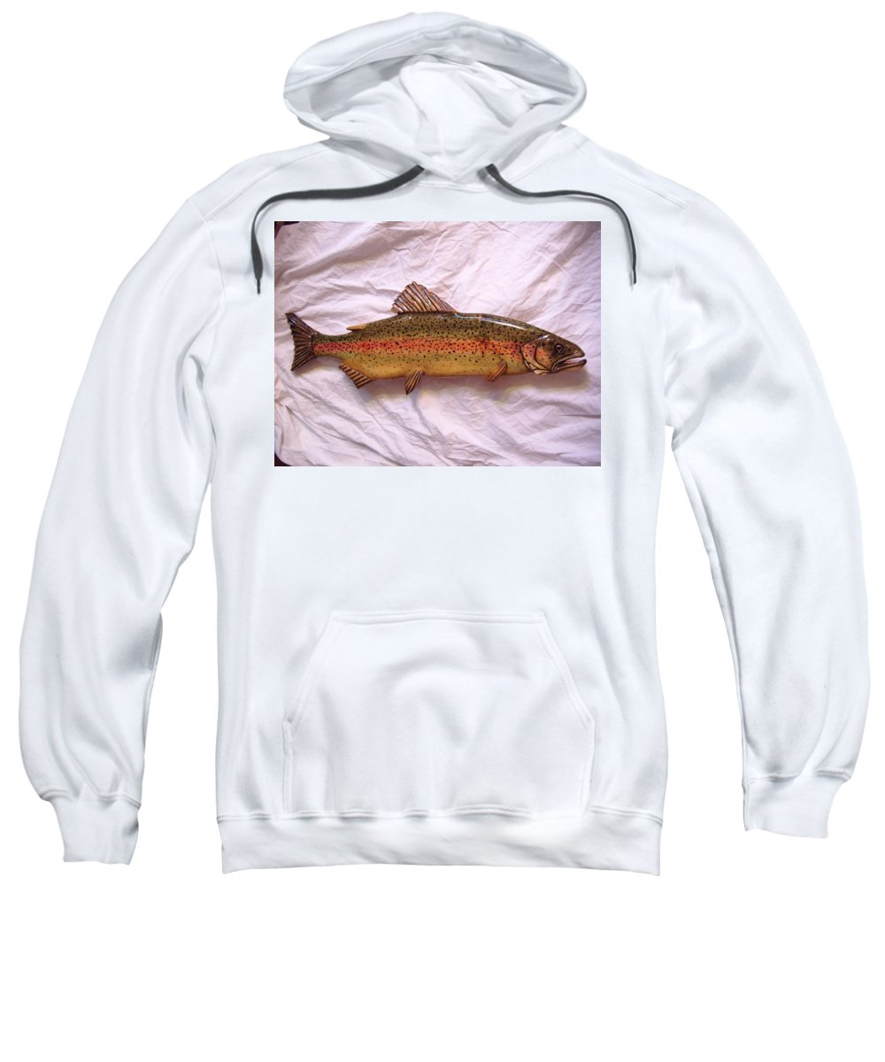 Dryriver Sweatshirt featuring the mixed media Wooden Rainbow Trout Number Nine by Lisa Ruggiero