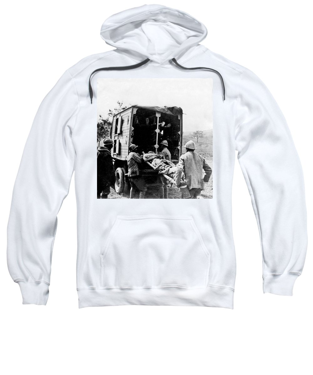 somme France Sweatshirt featuring the photograph Wounded At The Battle Of Somme - Wwi -- France by International Images