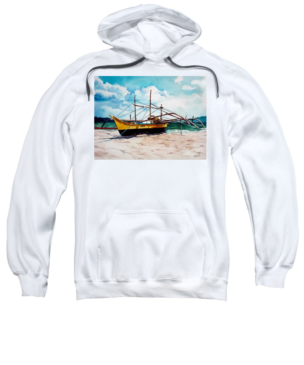 Boat Sweatshirt featuring the painting Yellow Boat Docking On The Shore by Christopher Shellhammer