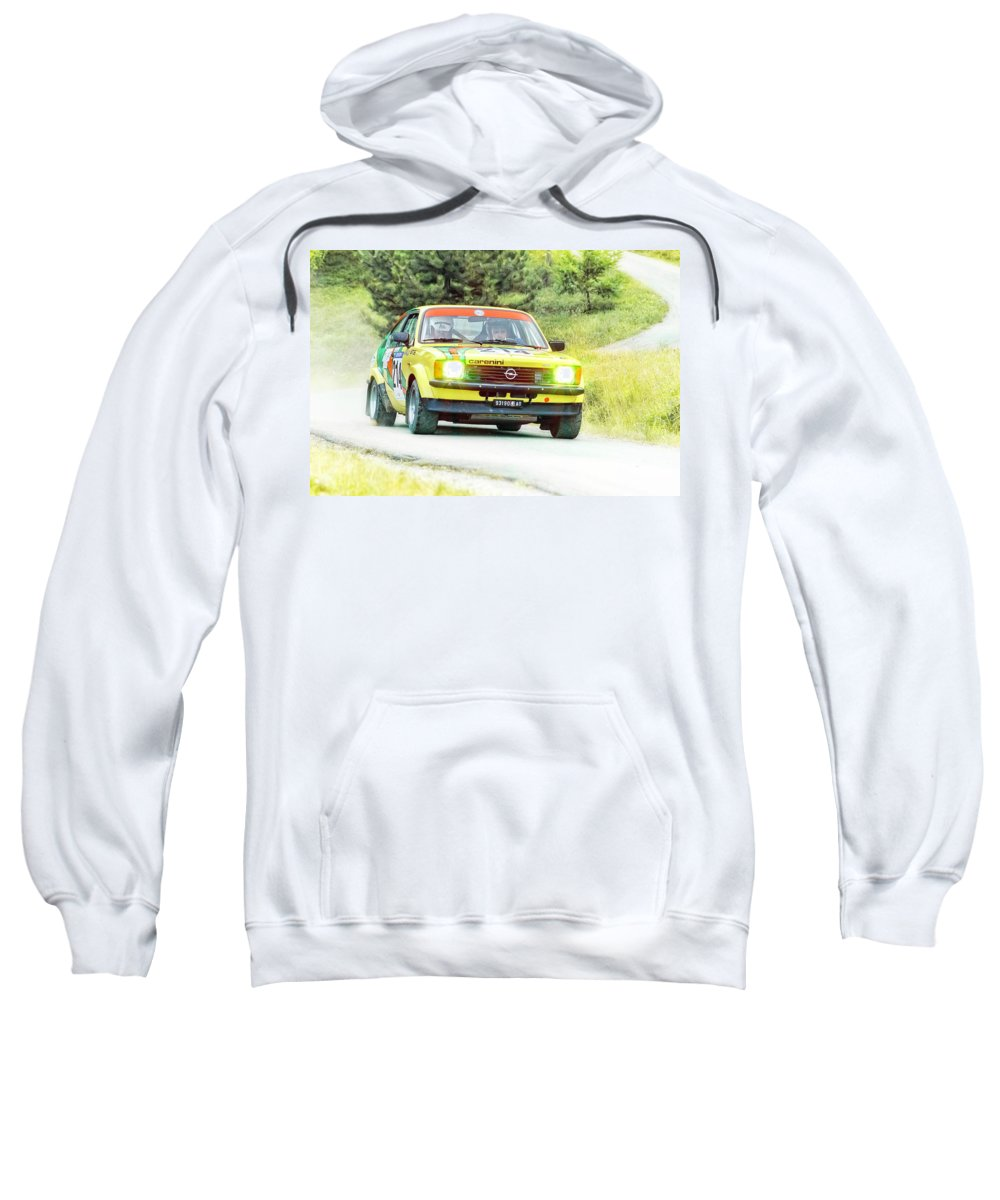 Car Sweatshirt featuring the photograph Yellow Opel by Alain De Maximy