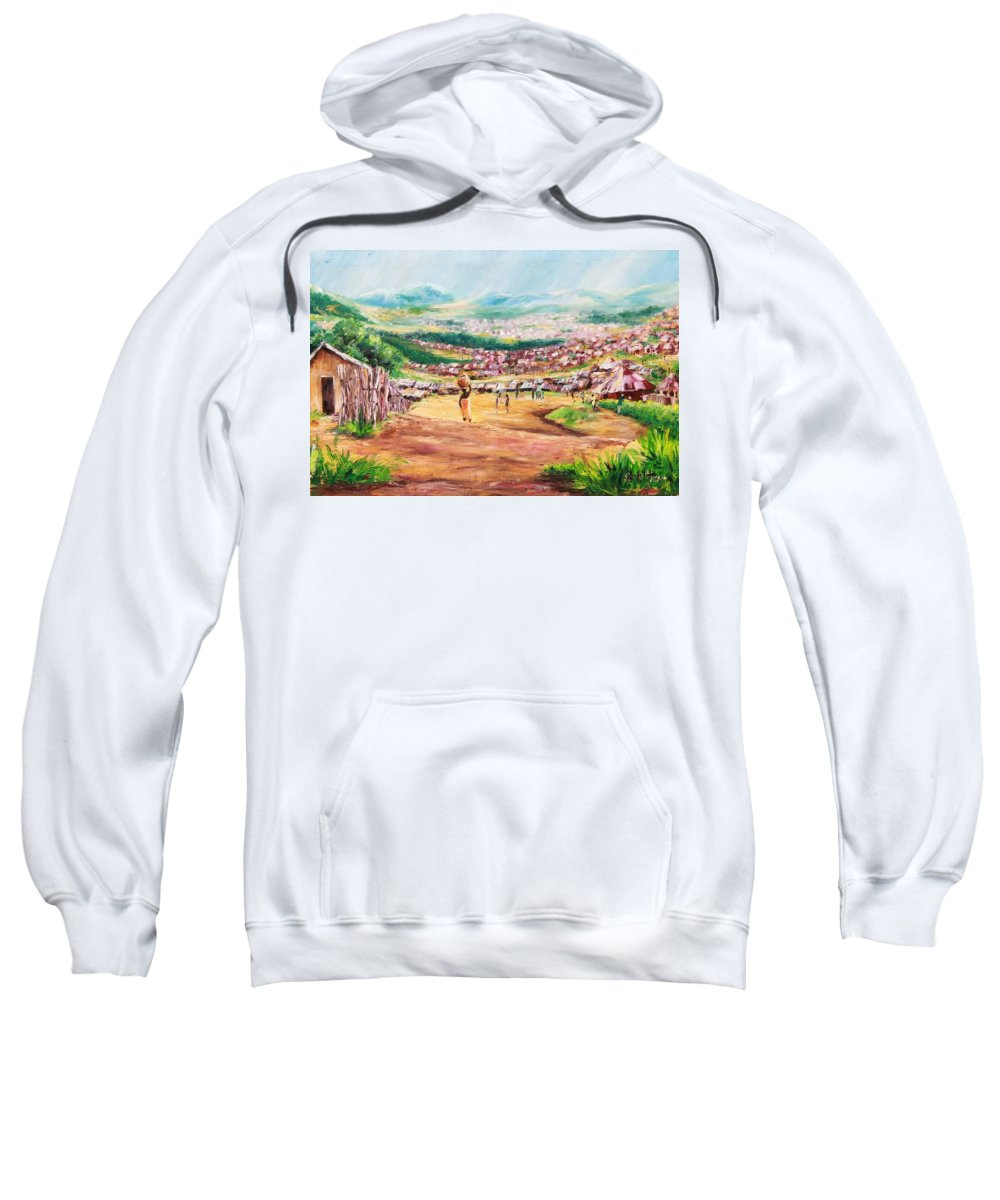 Village Scene Sweatshirt featuring the painting Yesteryears by Uly Ogwah