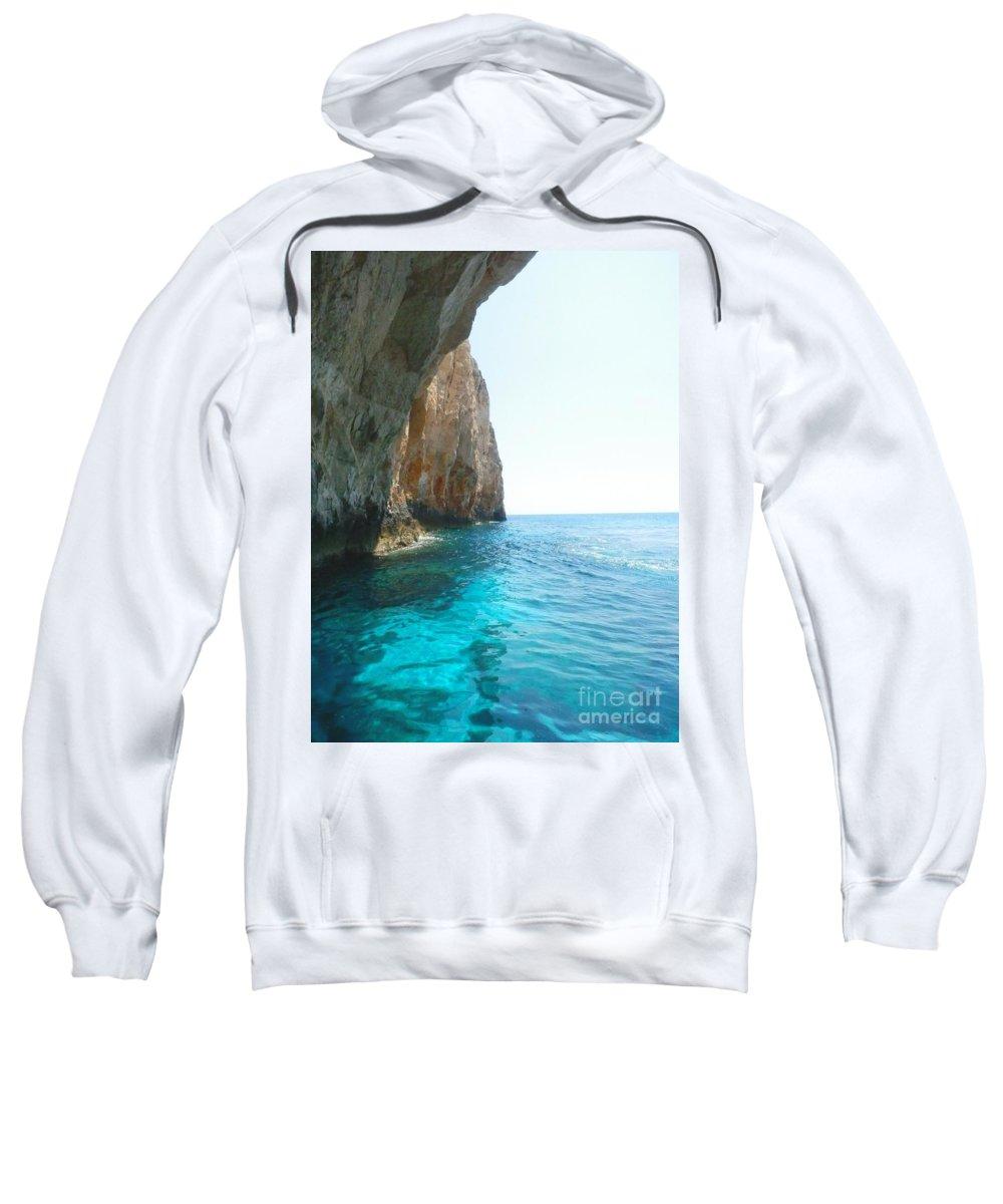 Zakynthos Sweatshirt featuring the photograph Zakynthos Blue Caves by Ana Maria Edulescu