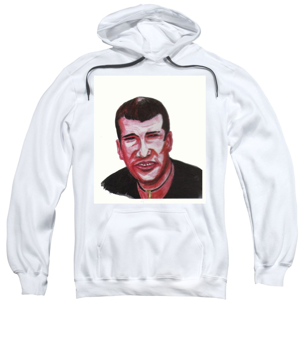 Portraits Sweatshirt featuring the painting Zinedine Zidane 02 by Emmanuel Baliyanga