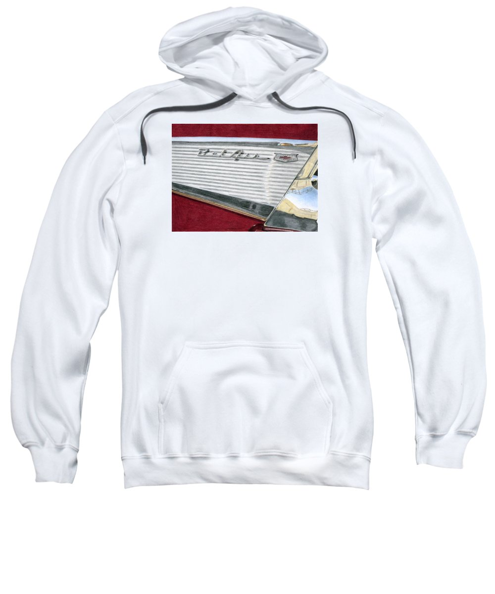 Classic Sweatshirt featuring the drawing 1957 Chevrolet Bel Air Convertible by Rob De Vries