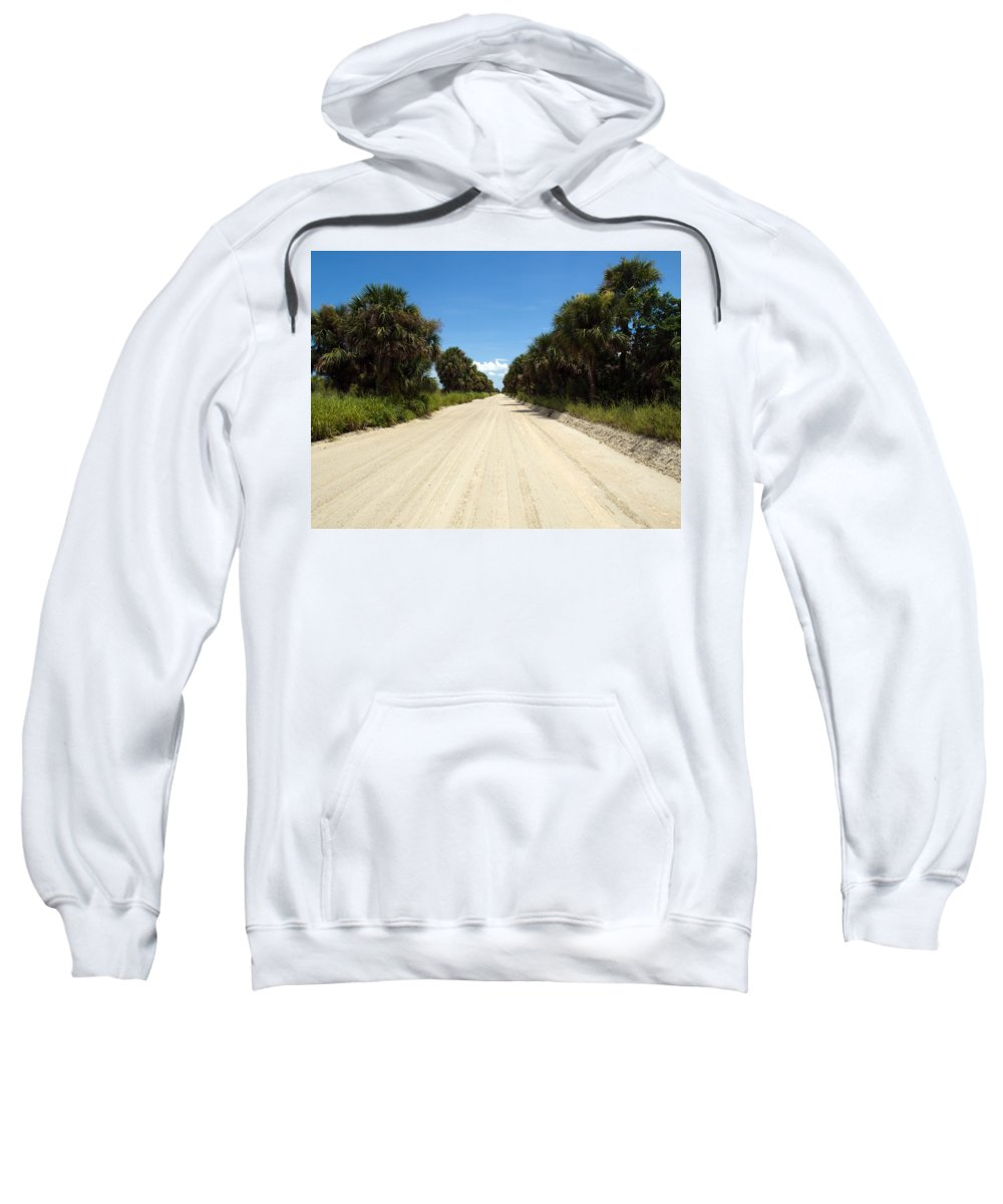 Florida; Road; Back; Backroad; Central; Dirt; Plow; Plowed; Clay; Mud; Muddy; Places; Unknown; Trave Sweatshirt featuring the photograph Back Road In Central Florida. by Allan Hughes