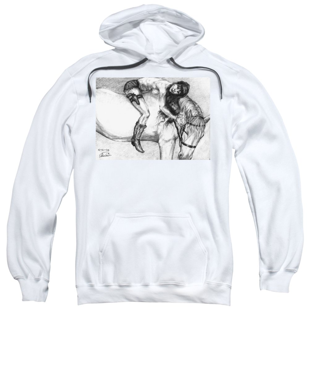 Cowgirl Sweatshirt featuring the drawing Cowgirl Riding A Hourse by Alban Dizdari