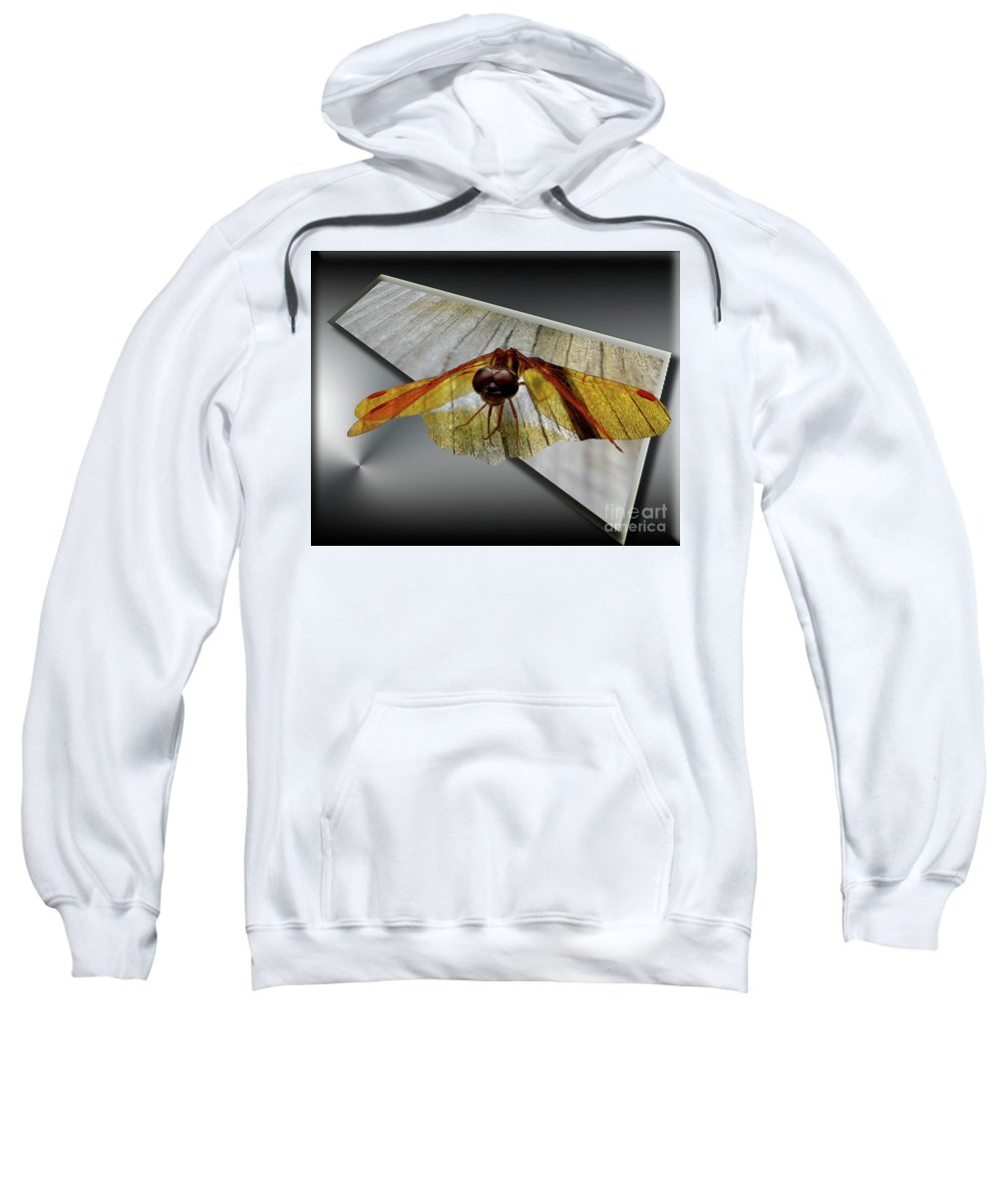 Dragonfly Sweatshirt featuring the digital art Eastern Amber Dragonfly 3d by Donna Brown