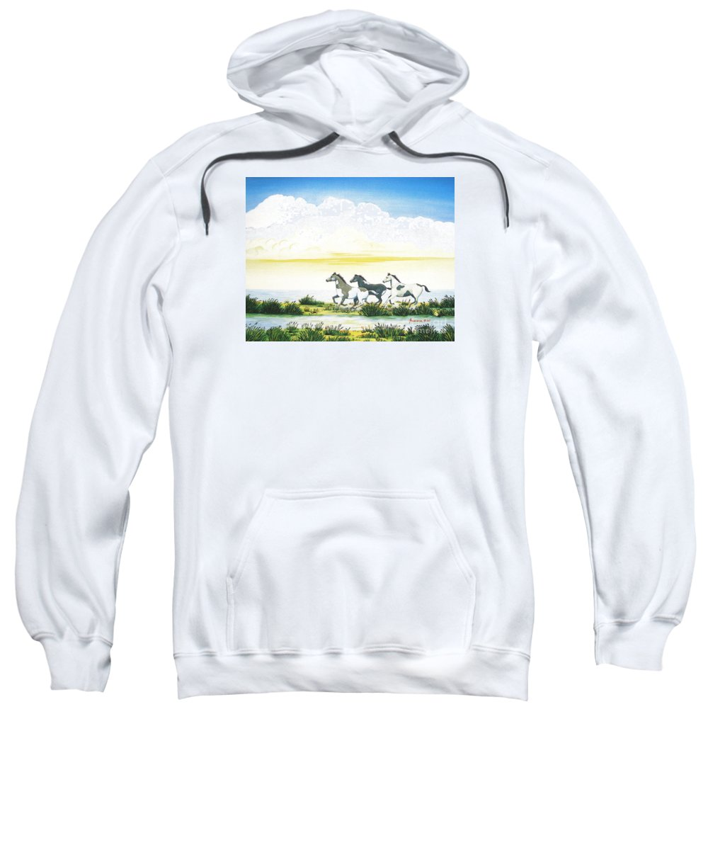 Chincoteague Sweatshirt featuring the painting Indian Ponies by Jerome Stumphauzer