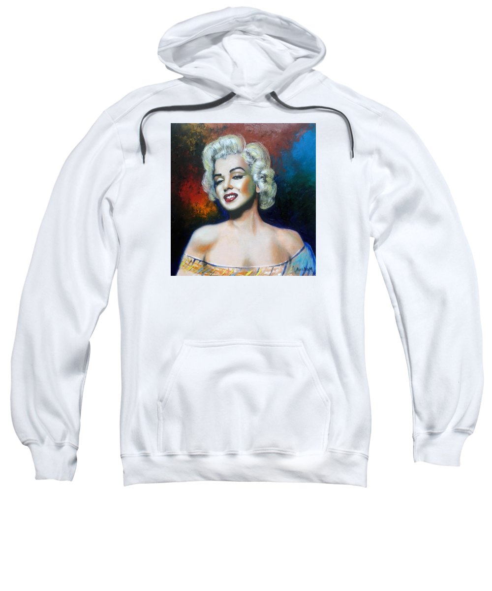 Women Star Sweatshirt featuring the painting M. Monroe by Jose Manuel Abraham