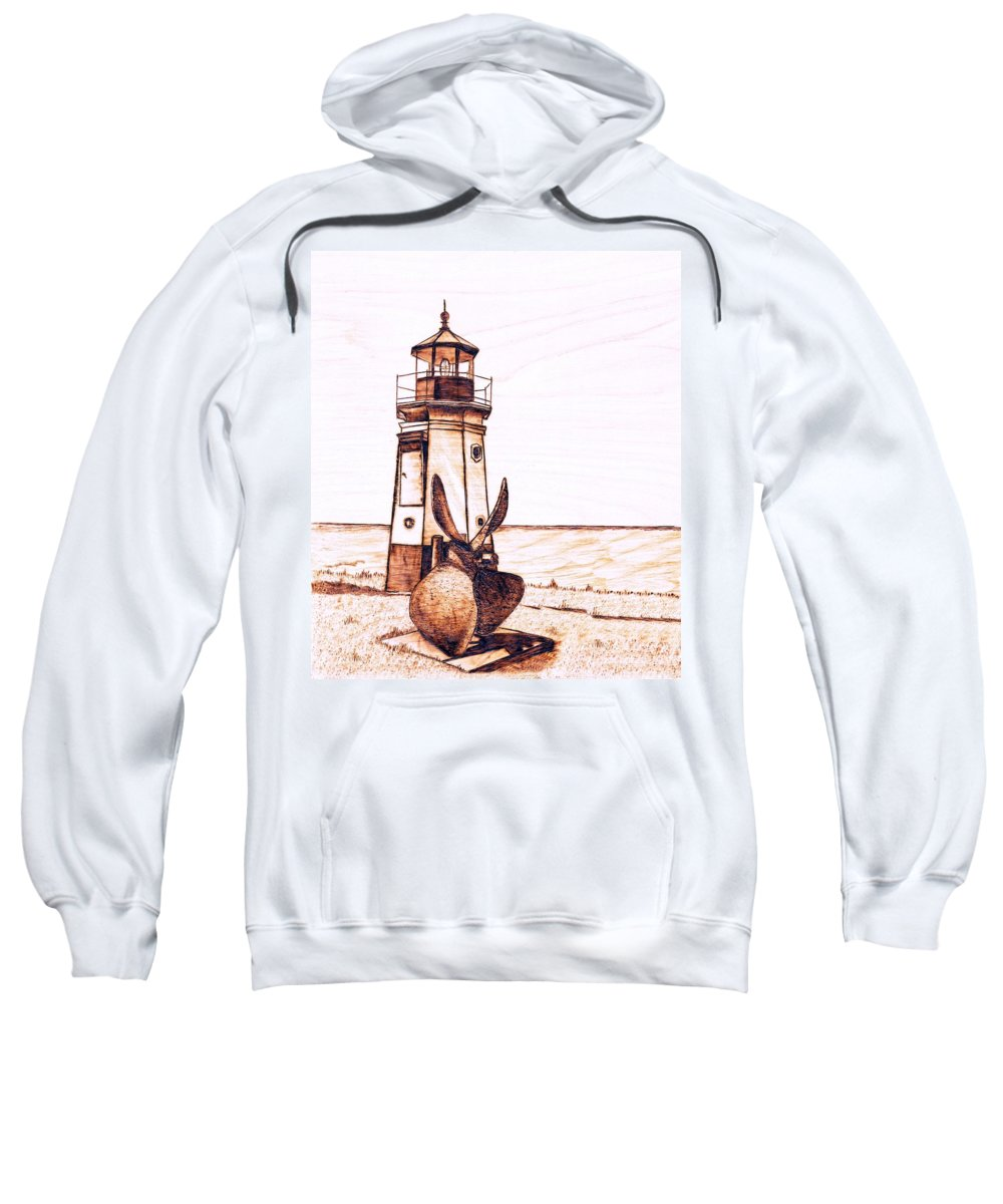 Lighthouse Sweatshirt featuring the pyrography Vermilion Lighthouse by Danette Smith