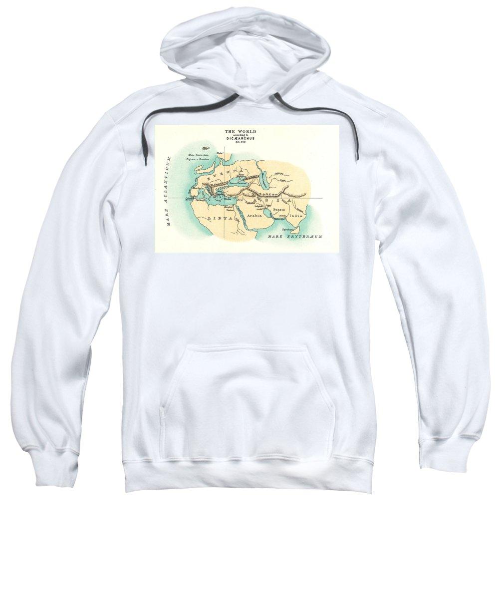 300 B.c. Sweatshirt featuring the painting World Map, C300 B.c by Granger