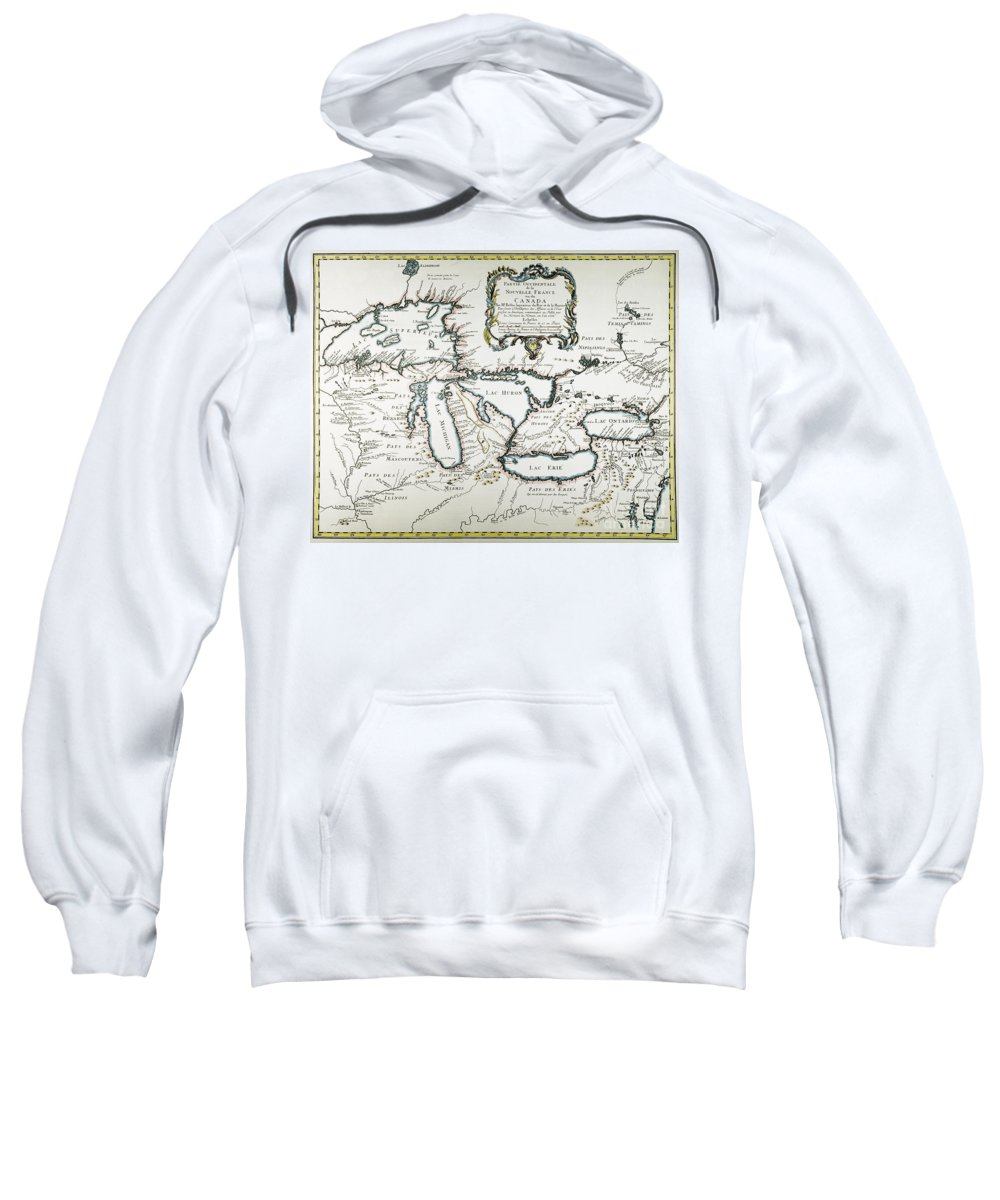 1755 Sweatshirt featuring the painting Great Lakes Map, 1755 by Granger