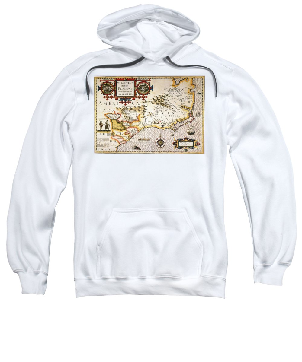 1606 Sweatshirt featuring the painting Map: Colonial America, by Granger