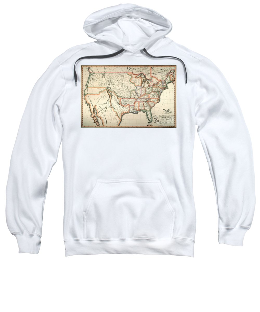 1820 Sweatshirt featuring the painting Map: United States, 1820 by Granger