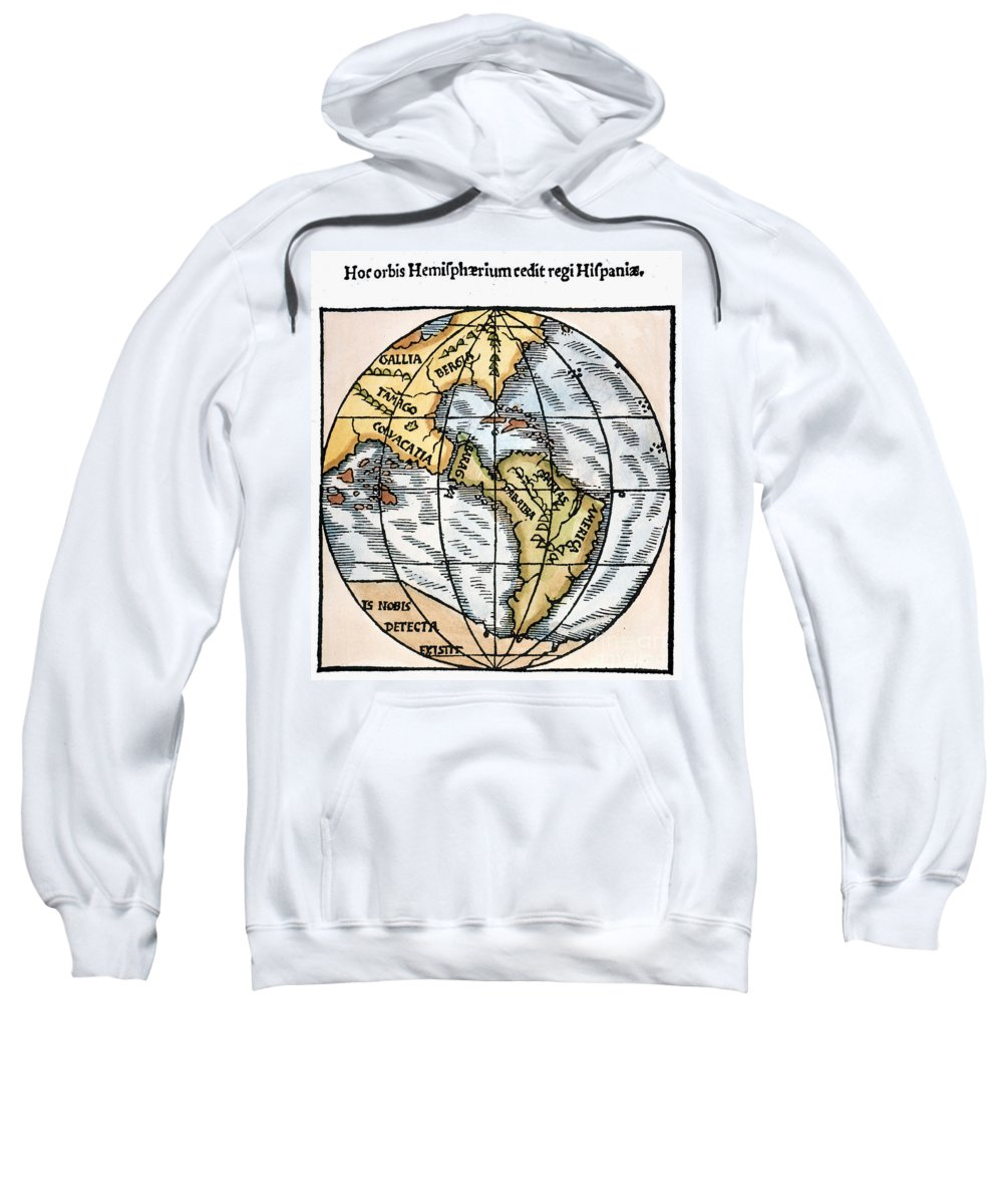1529 Sweatshirt featuring the painting World Map, 1529 by Granger