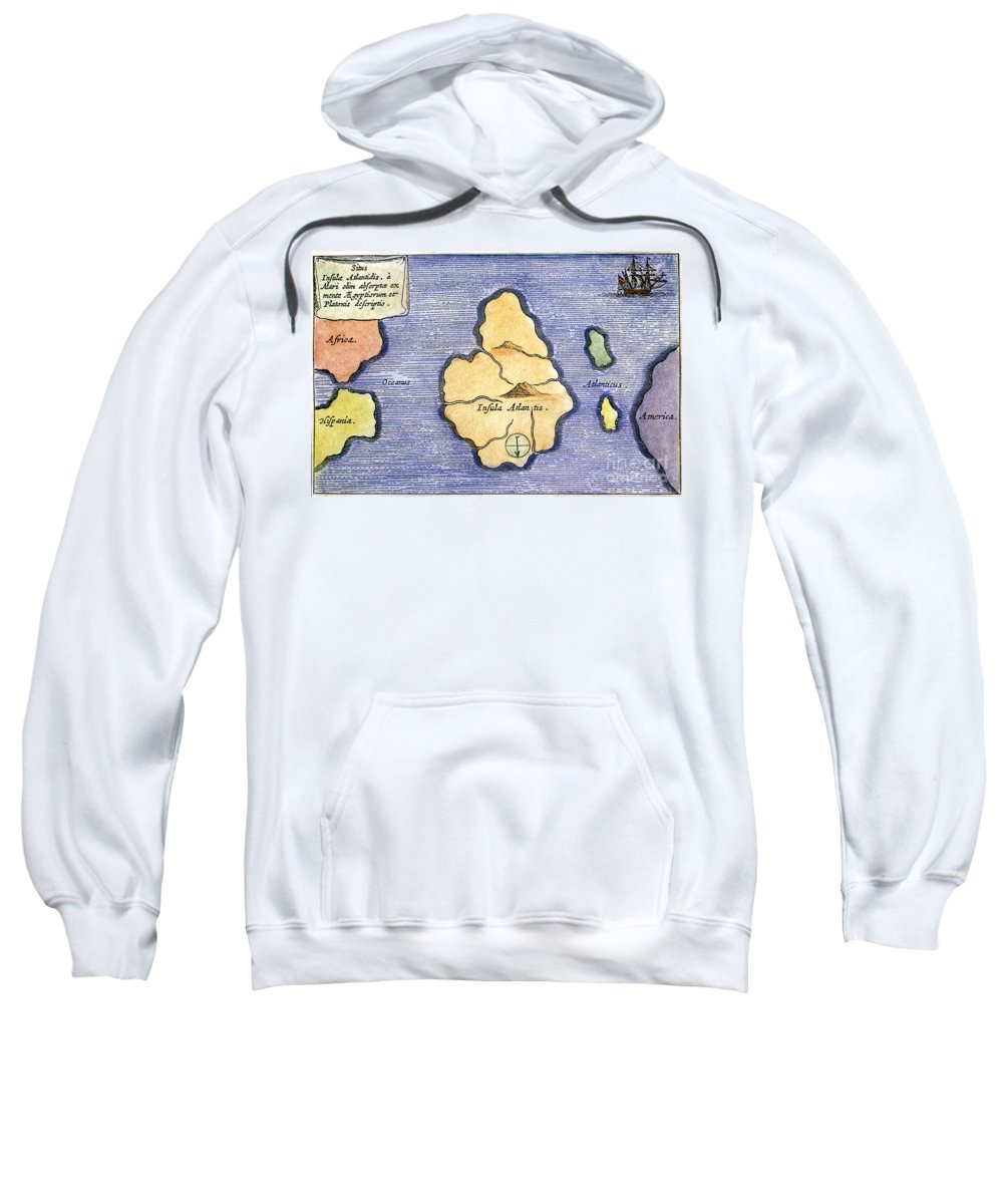 1678 Sweatshirt featuring the painting Map Of Atlantis, 1678 by Granger