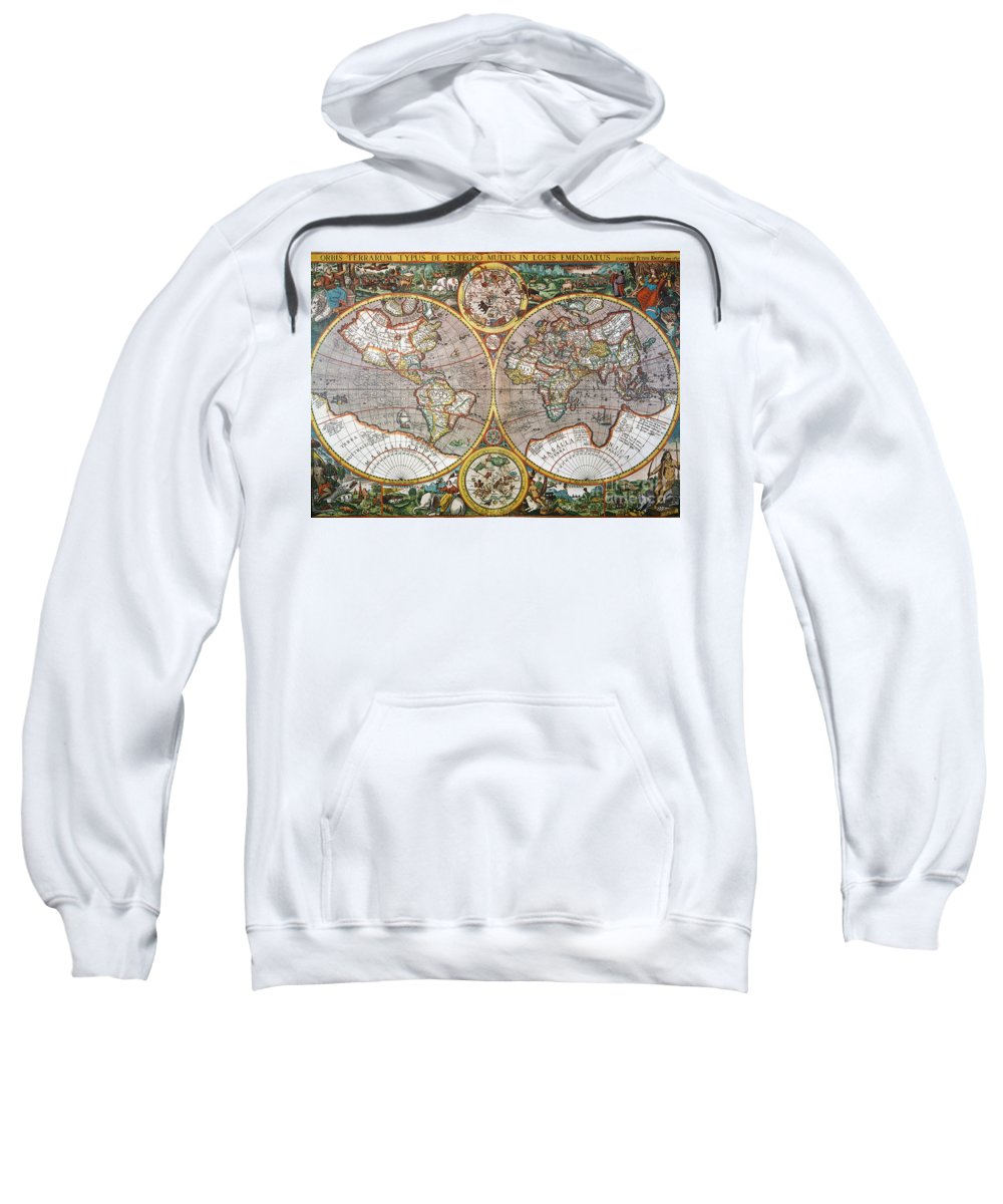 1594 Sweatshirt featuring the painting World Map, 1607 by Granger