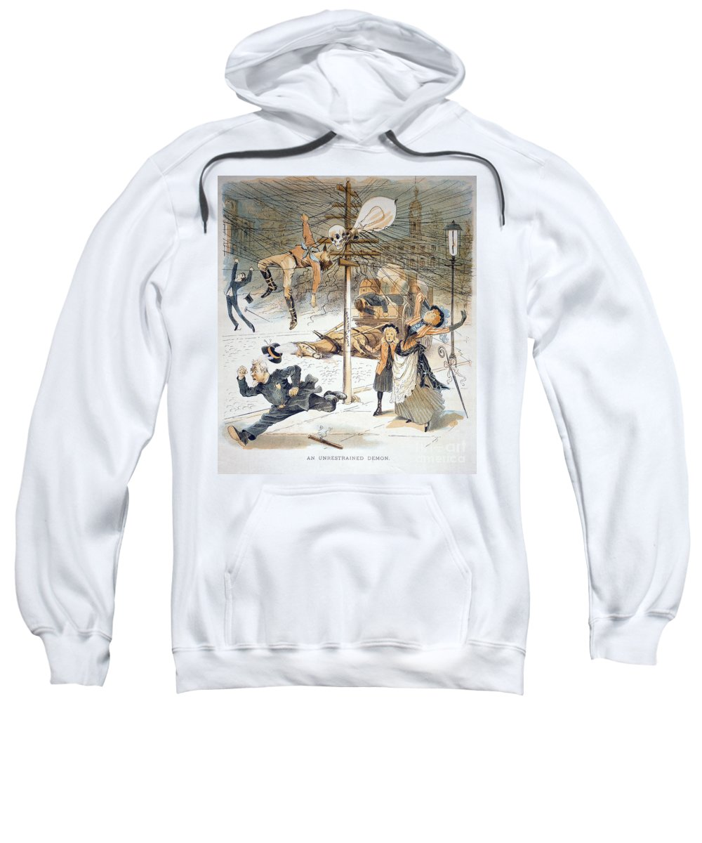 1889 Sweatshirt featuring the painting Electricity Cartoon, 1889 by Granger