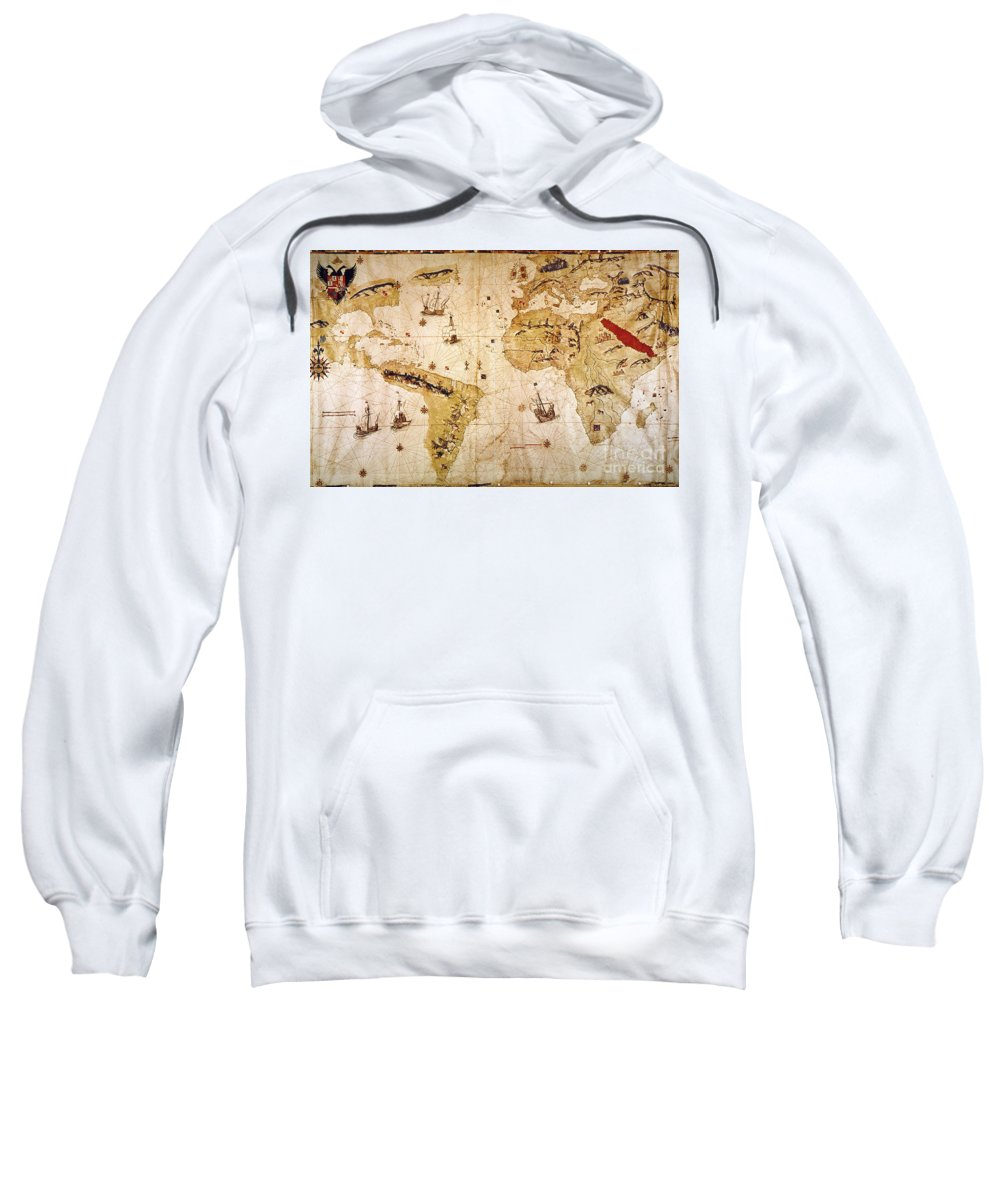 1526 Sweatshirt featuring the painting Vespucci's World Map, 1526 by Granger