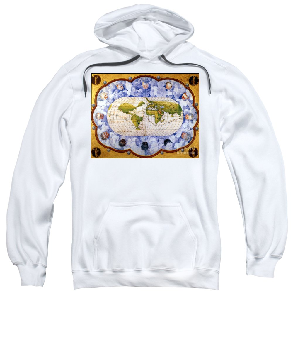 1545 Sweatshirt featuring the painting World Map by Granger