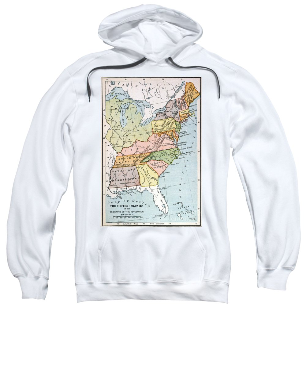 1791 Sweatshirt featuring the painting United States Map, C1791 by Granger
